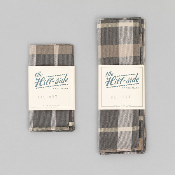 The Hill-Side - Sulphur-Dyed Check Pocket Square, Grey/Brown - PS1-377 - image 2