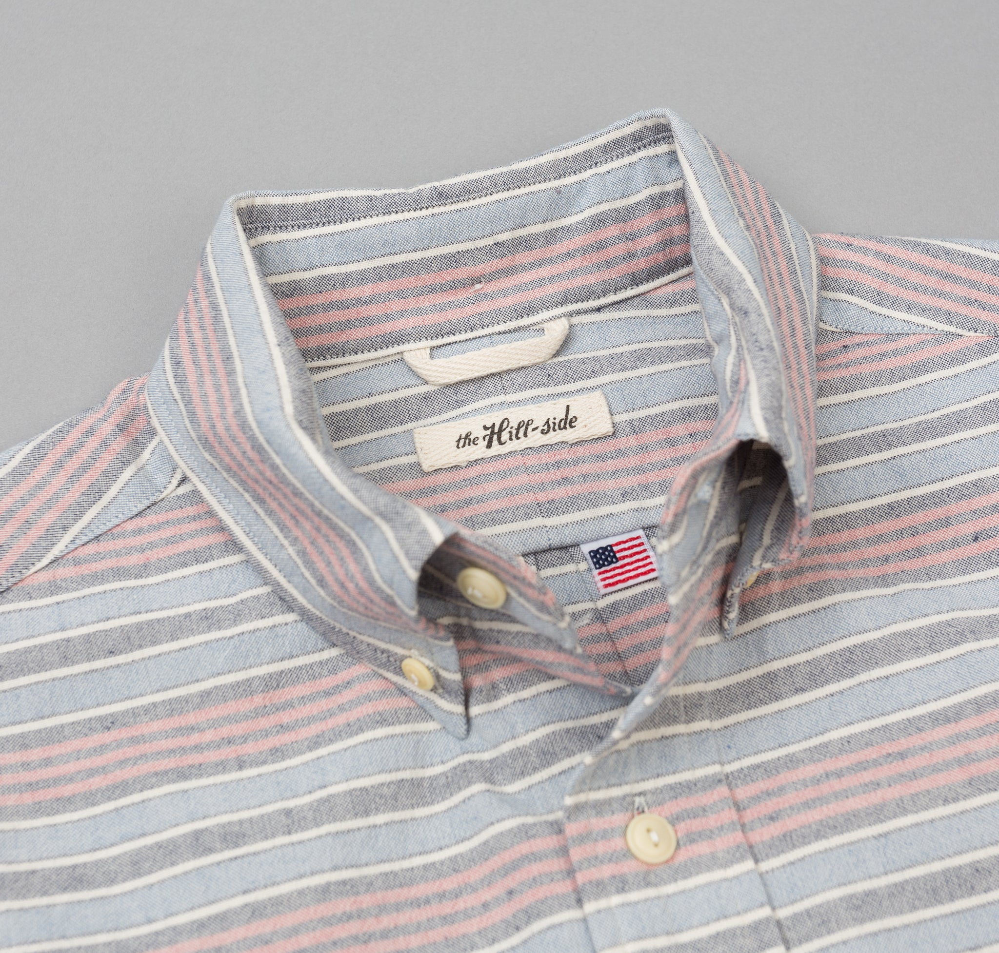 The Hill-Side - TH-S Mills Natural Warp Border Stripe Short Sleeve Standard Shirt, Antique Japanese Pattern - SH2-354 - image 1