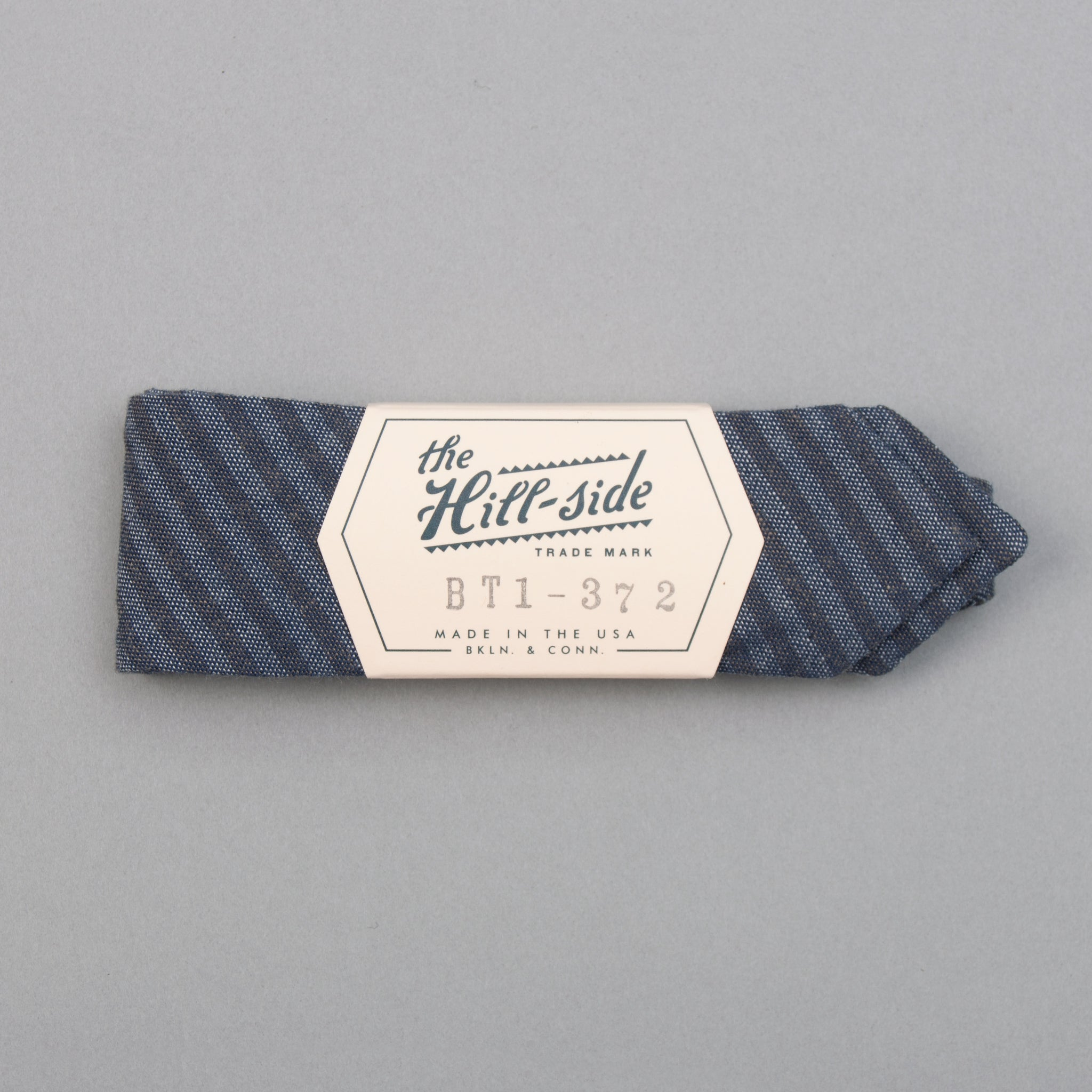 The Hill-Side - TH-S Mills Navy Warp Bow Tie, Hickory Stripe - BT1-372 - image 1