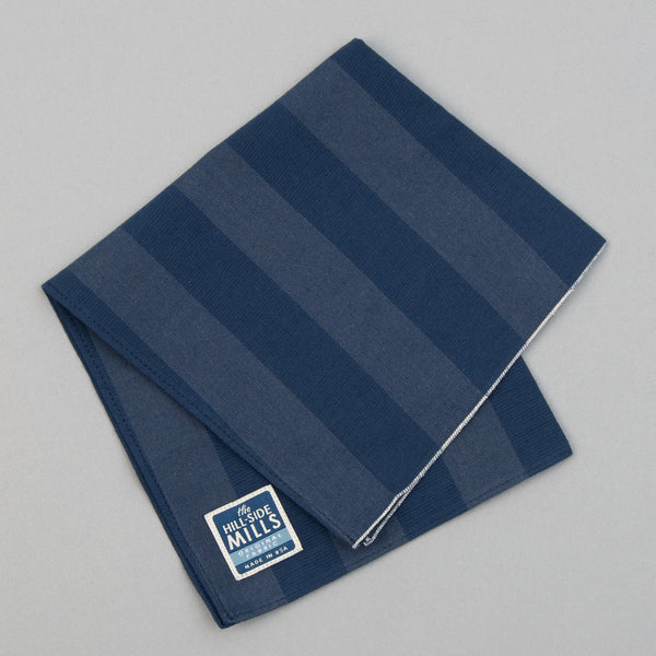 The Hill-Side - TH-S Mills Navy Warp Pocket Square, Border Stripe - PS1-366 - image 1