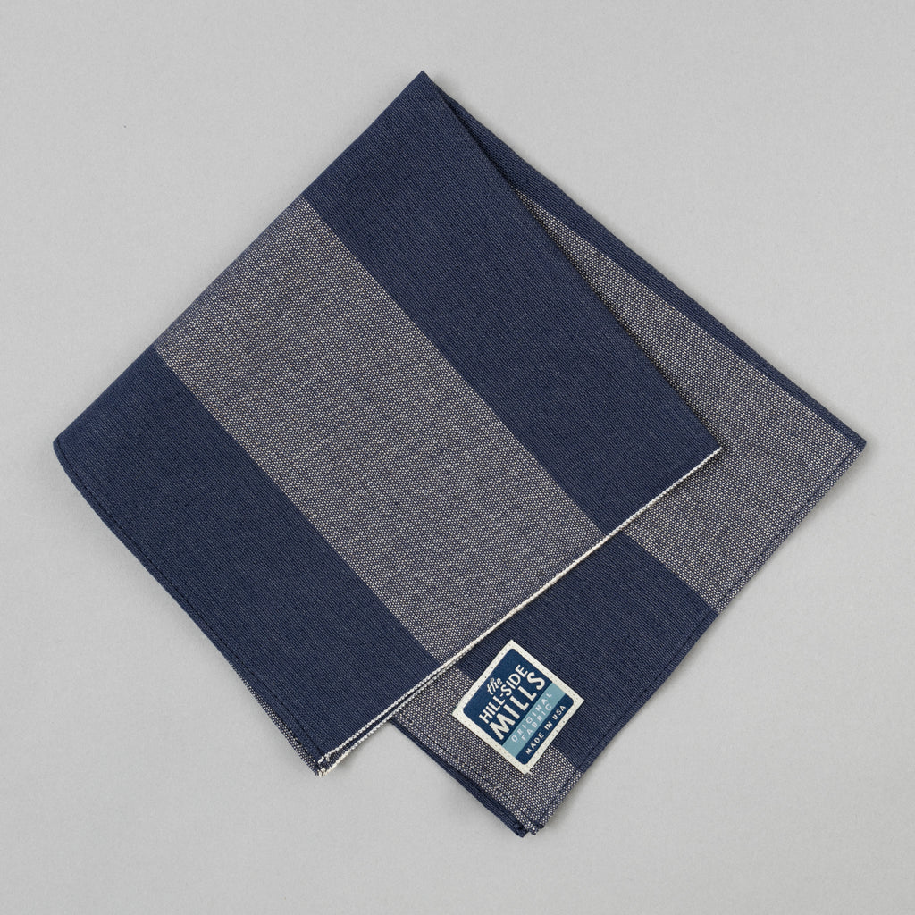 The Hill-Side TH-S Mills Navy Warp Pocket Square, Giant Border Stripe