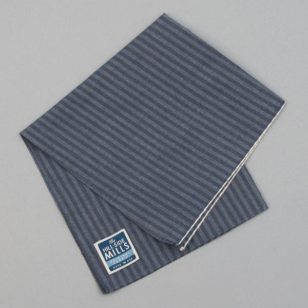 The Hill-Side - TH-S Mills Navy Warp Pocket Square, Hickory Stripe - PS1-372 - image 1