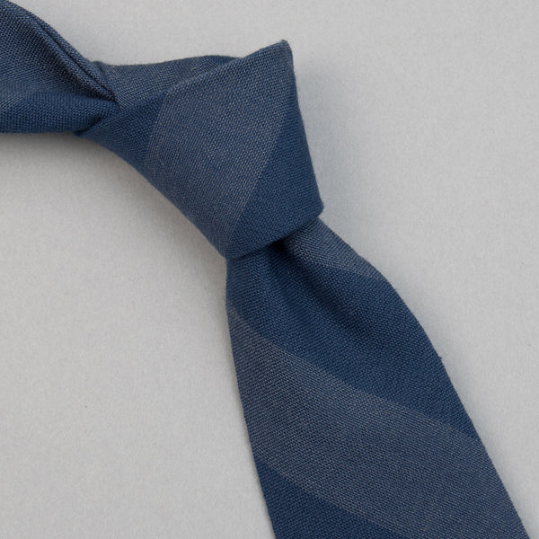 The Hill-Side - TH-S Mills Navy Warp Tie, Border Stripe - PT1-366 - image 1