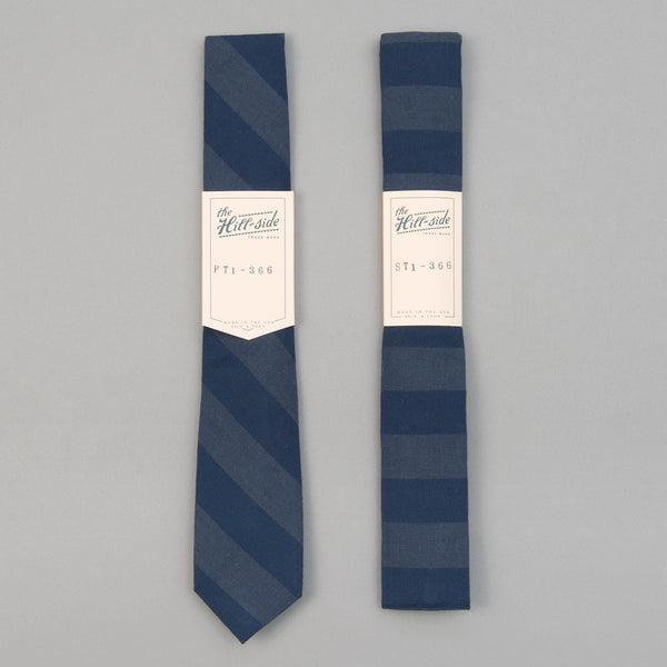 The Hill-Side - TH-S Mills Navy Warp Tie, Border Stripe - PT1-366 - image 2