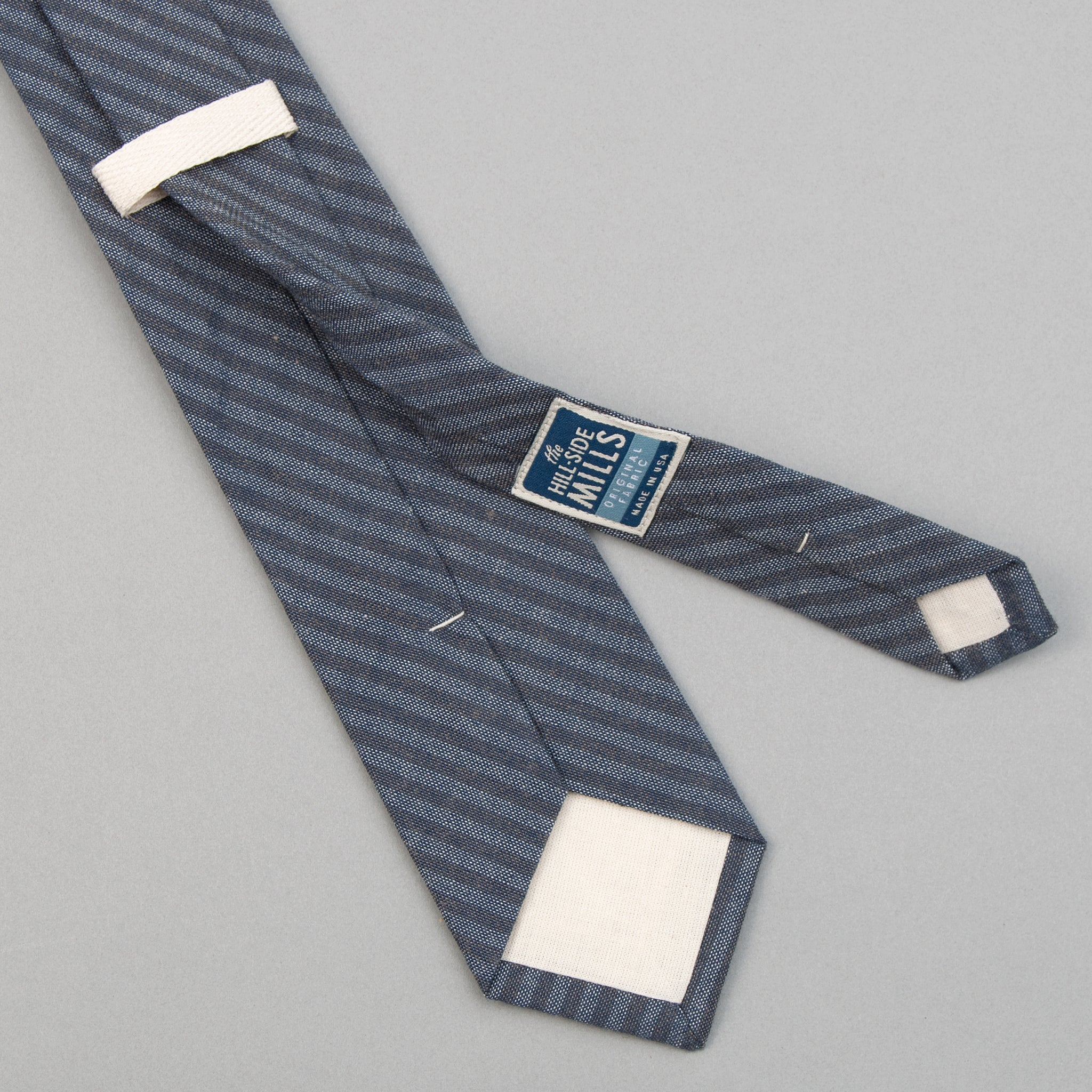 TH-S Mills Navy Warp Tie, Hickory Stripe