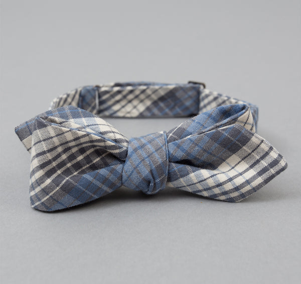 The Hill-Side - TH-S Mills Selvedge Waterfall Plaid Chambray Bow Tie, Light Indigo / Grey - BT1-296 - image 1