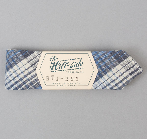 The Hill-Side - TH-S Mills Selvedge Waterfall Plaid Chambray Bow Tie, Light Indigo / Grey - BT1-296 - image 2