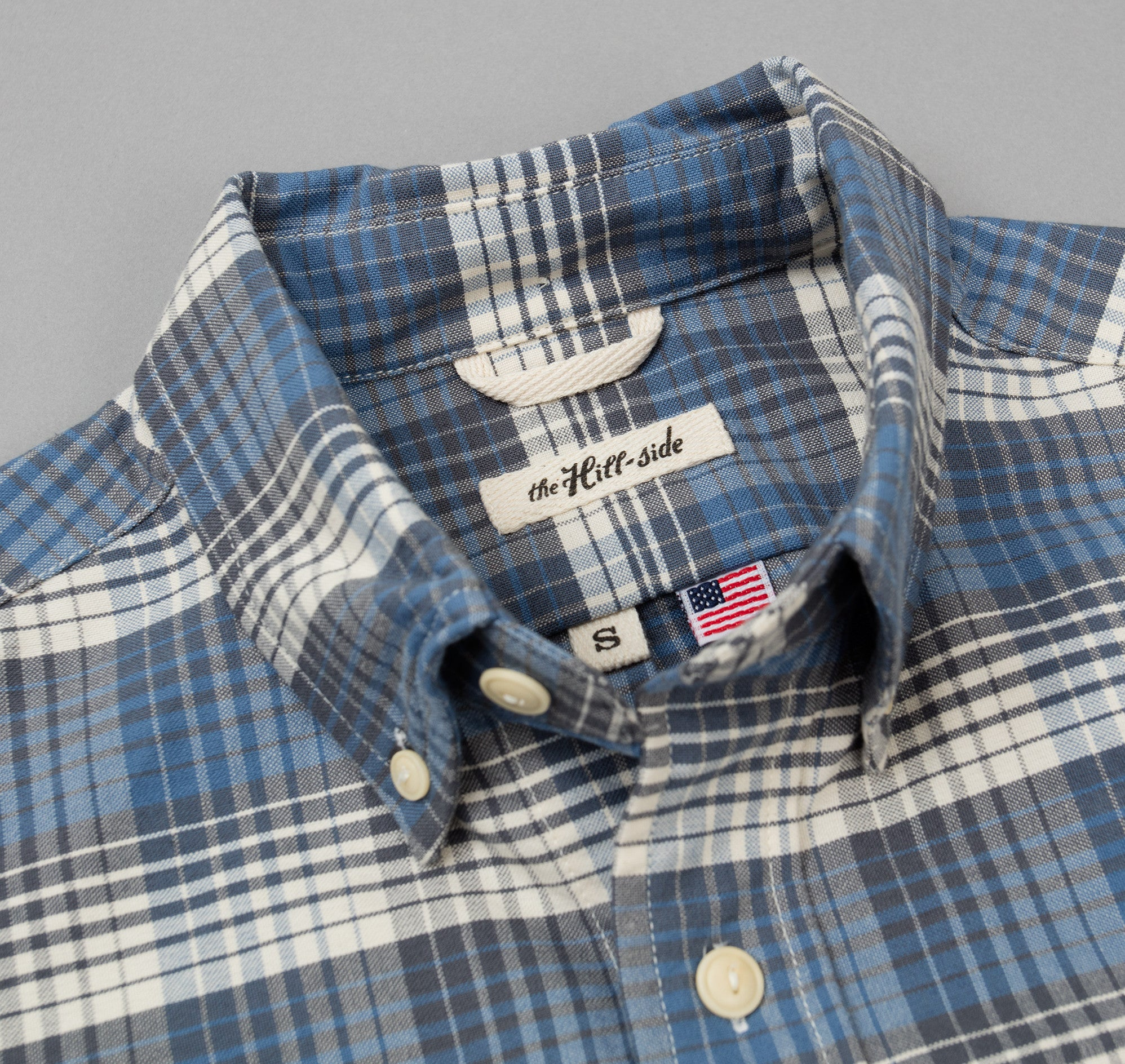 The Hill-Side - TH-S Mills Selvedge Waterfall Plaid Chambray Button-Down Shirt, Light Indigo / Grey - SH1-296 - image 1