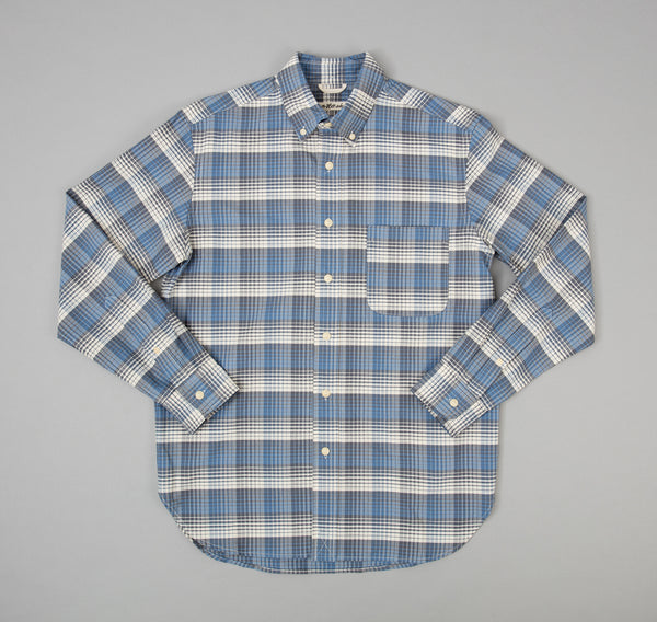 The Hill-Side - TH-S Mills Selvedge Waterfall Plaid Chambray Button-Down Shirt, Light Indigo / Grey - SH1-296 - image 2