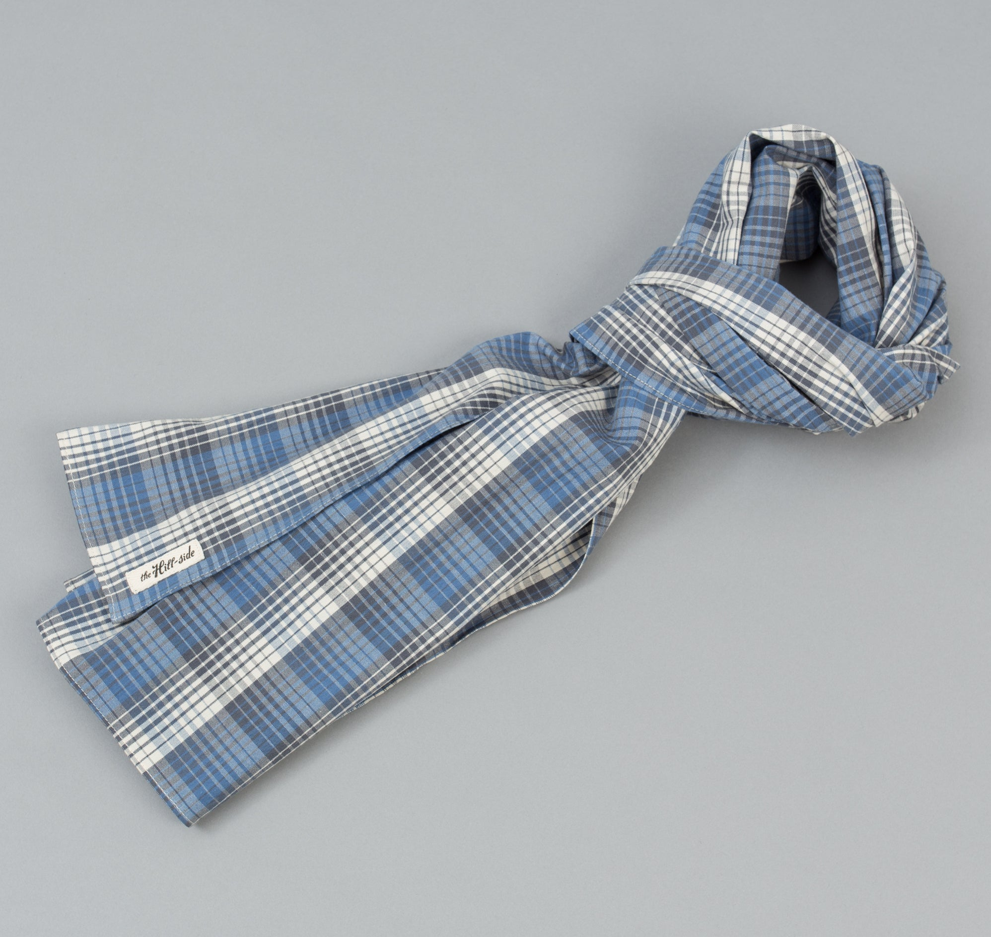The Hill-Side - TH-S Mills Selvedge Waterfall Plaid Chambray Scarf, Light Indigo / Grey - SC1-296 - image 1