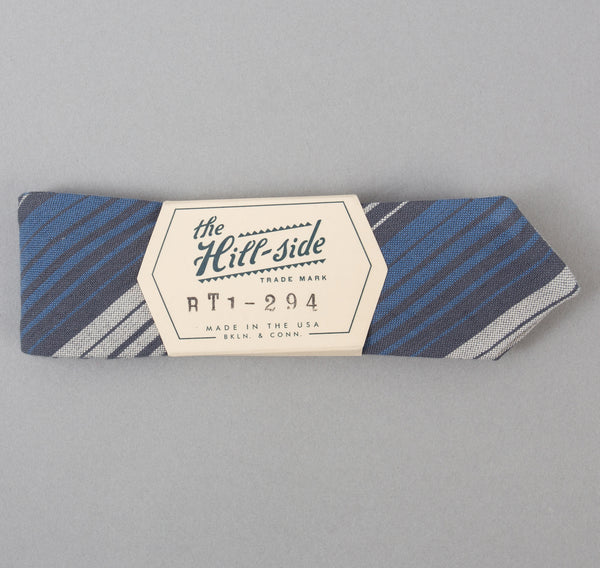 The Hill-Side - TH-S Mills Selvedge Waterfall Stripe Chambray Bow Tie, Light Indigo / Grey - BT1-294 - image 2