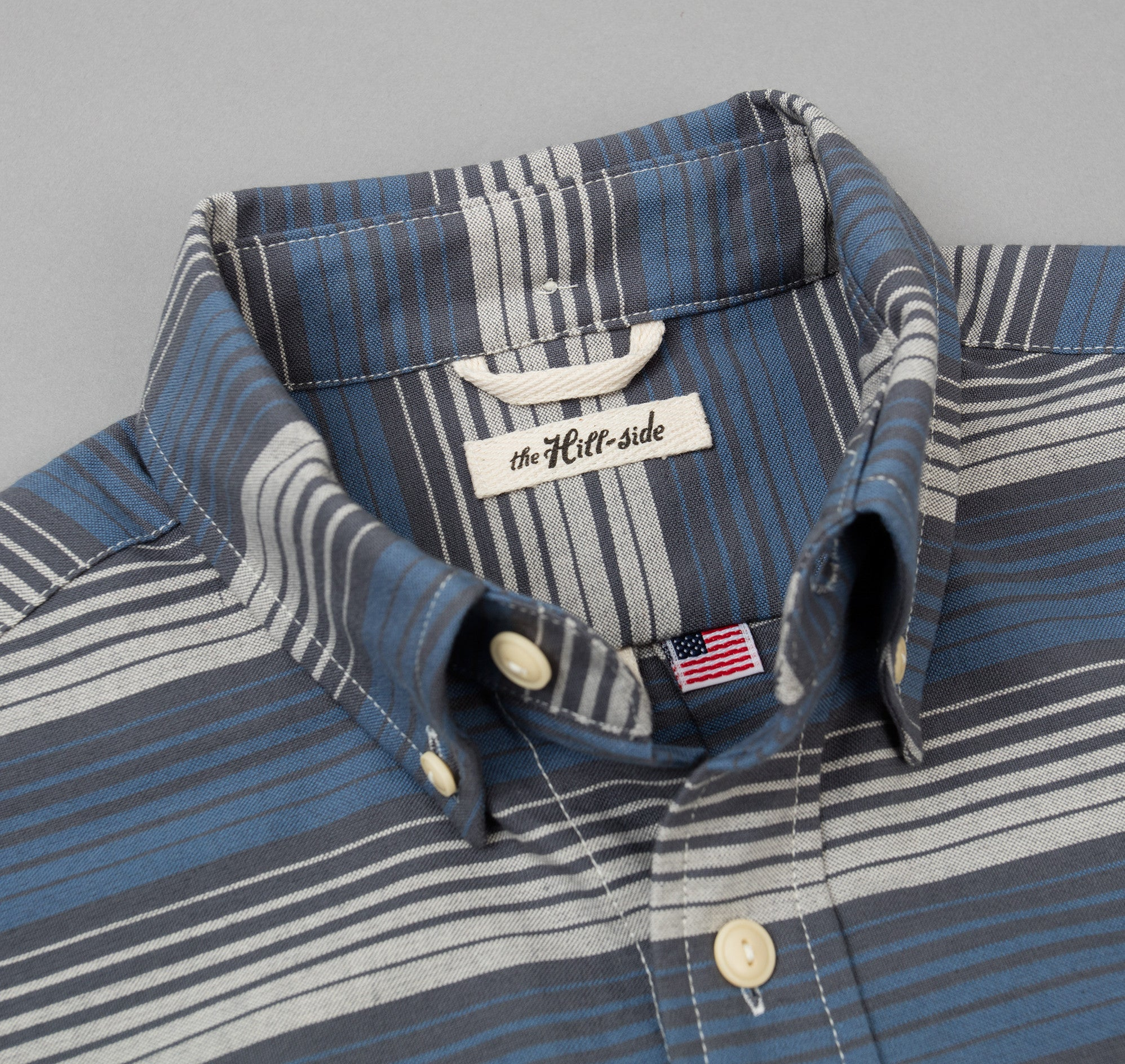 The Hill-Side - TH-S Mills Selvedge Waterfall Stripe Chambray Button-Down Shirt, Light Indigo / Grey - SH1-294 - image 1