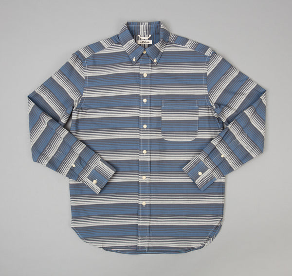The Hill-Side - TH-S Mills Selvedge Waterfall Stripe Chambray Button-Down Shirt, Light Indigo / Grey - SH1-294 - image 2