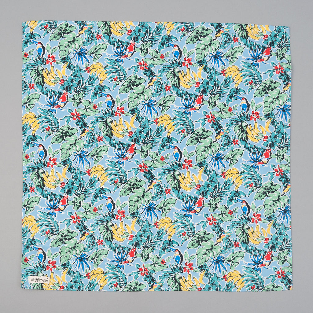 The Hill-Side - Toucans & Bananas Print Bandana, Blue - BA1-456