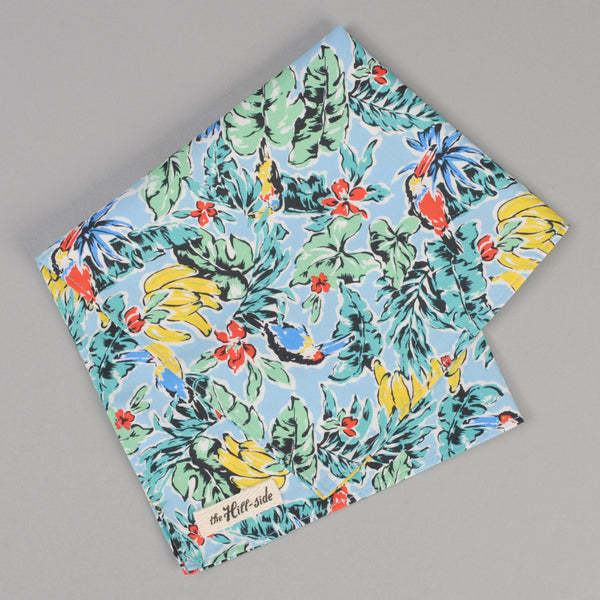 The Hill-Side - Toucans & Bananas Print Pocket Square, Blue - PS1-456 - image 1