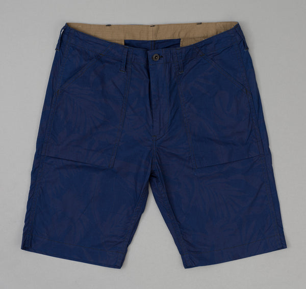 The Hill-Side Tropical Leaves Indigo Discharge Print Fatigue Shorts