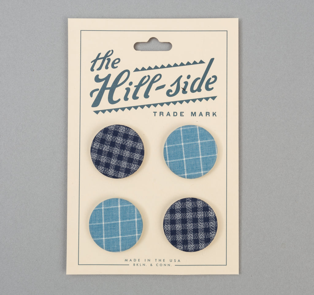 The Hill-Side - Two Blue Checks Pin-Back Buttons - PB1-12 - image 1