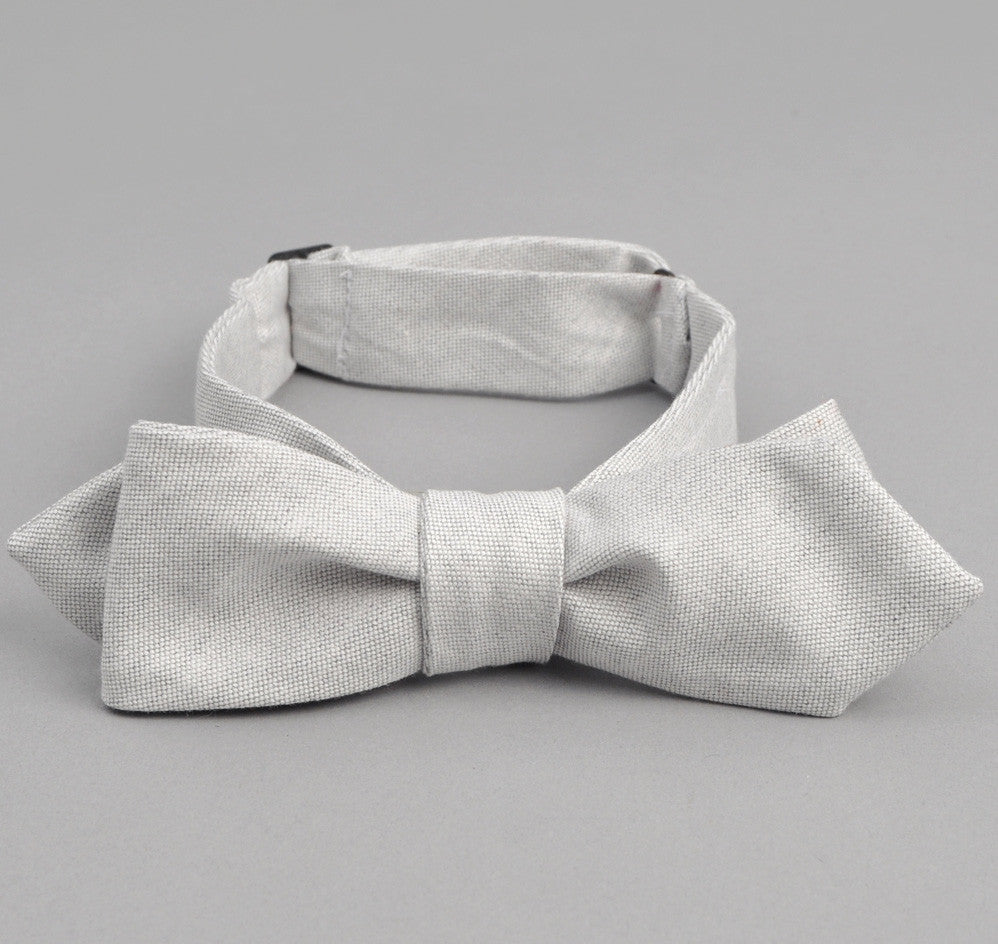 The Hill-Side - Variegated Warp Oxford Bow Tie, Light Grey - BT1-250 - image 1