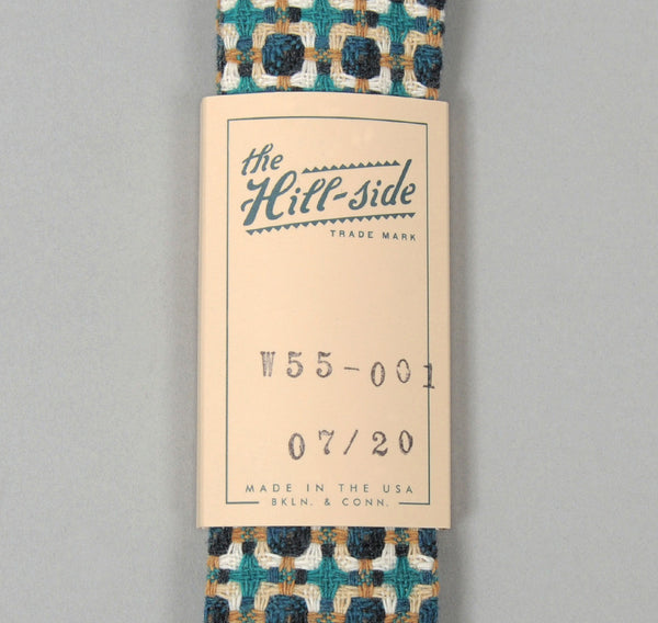 The Hill-Side W55-001 - Limited Edition Vintage Geometric Tweed Necktie, Turquoise