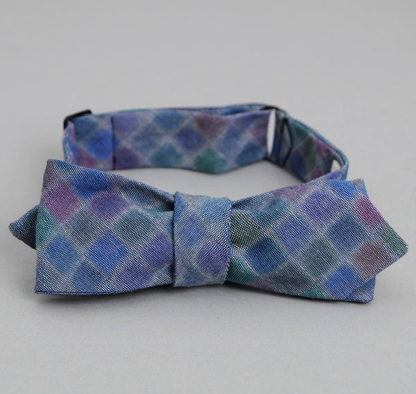 The Hill-Side - WATERCOLOR CHAMBRAY BOW TIE, INDIGO - BTN-157 - image 2