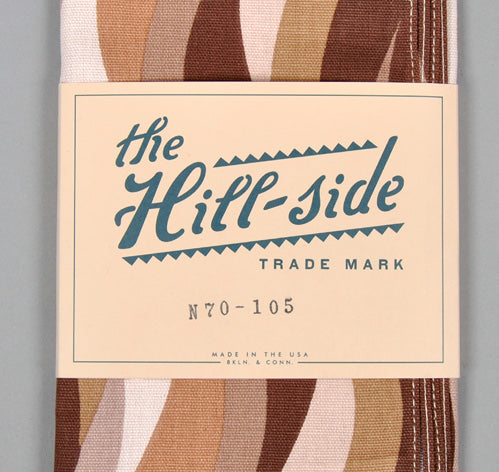 "The Hill-Side ""Waves"" Print Duck Cloth Scarf, Brown"