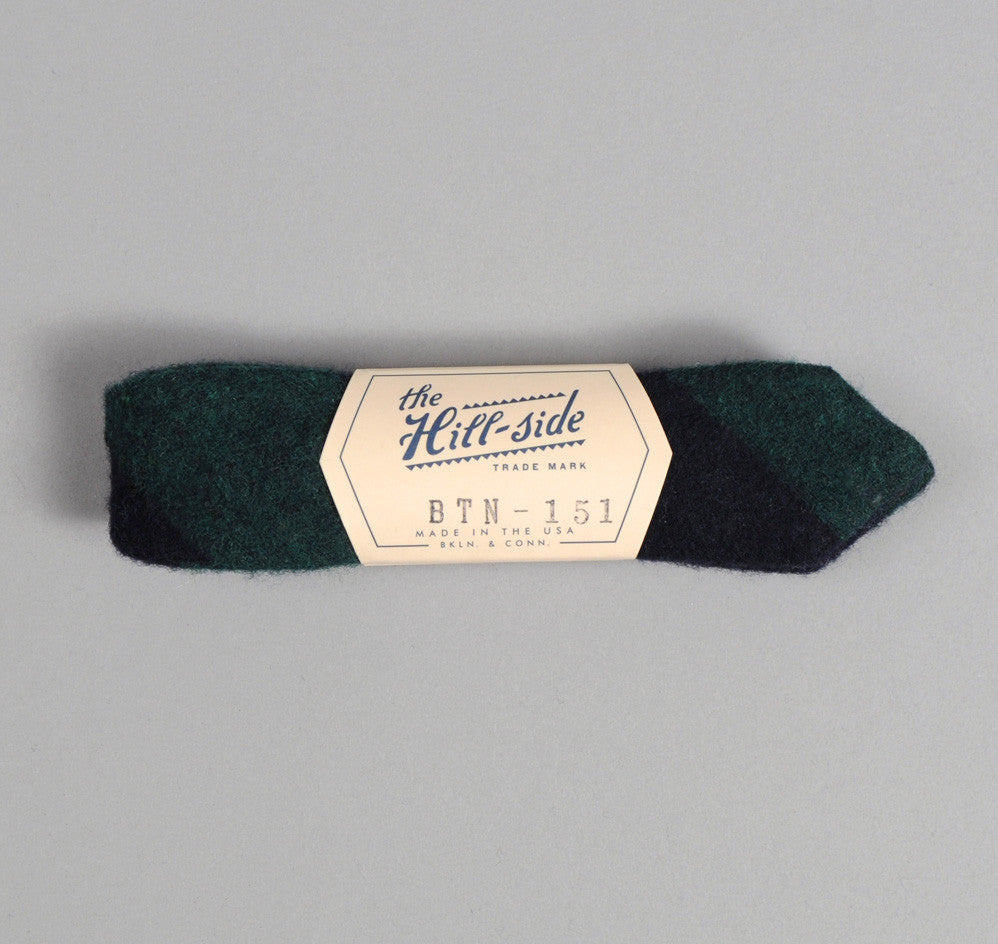 The Hill-Side - Wool / Cotton Blend Border Sripe Flannel Bow Tie, Navy / Green - BTN-151 - image 1