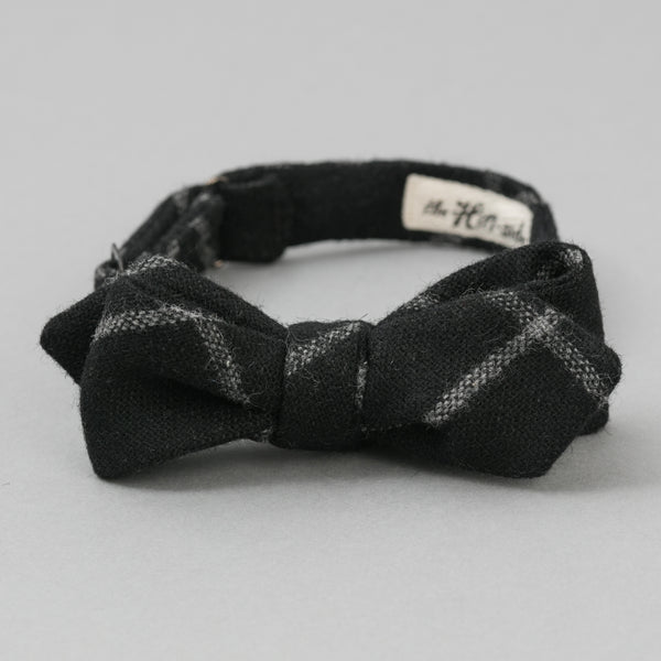 The Hill-Side Wool Windowpane Check Bow Tie, Black & Grey