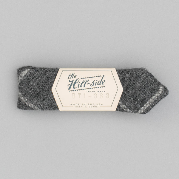 The Hill-Side Wool Windowpane Check Bow Tie, Grey & White