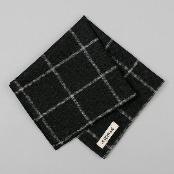 The Hill-Side - Wool Windowpane Check Pocket Square, Black & Grey - PS1-384 - image 1