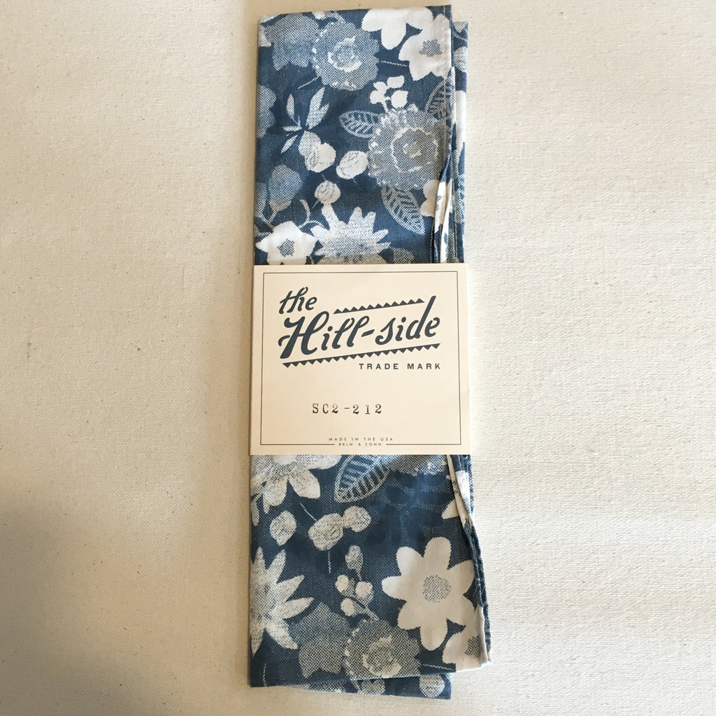 The Hill-Side - Xerox Floral Print Small Scarf, Navy - SC2-212
