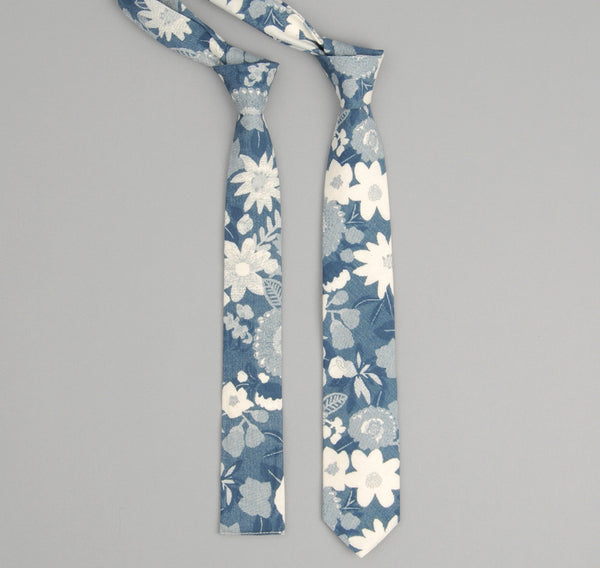 The Hill-Side - Xerox Floral Print Square-End Tie,  Navy - ST1-212 - image 1