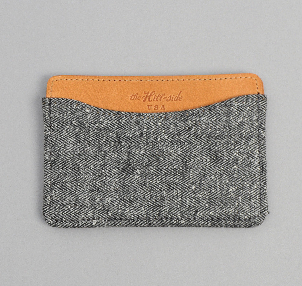 Cotton Herringbone Tweed Card Case, Grey