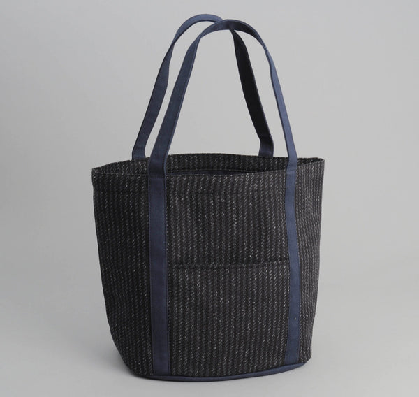 Beach Cloth Stripe Heavy Duty Tote Bag,  Black / Navy