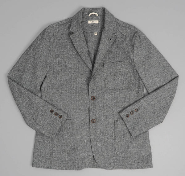 Cotton Herringbone Tweed Tailored Jacket, Grey