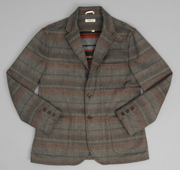 Wool Blend Blanket Stripe Tailored Jacket, Grey / Navy / Rust