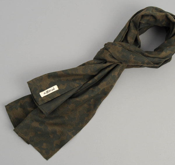 The Hill-Side Brushed Jacquard Camouflage Large Scarf,  Green