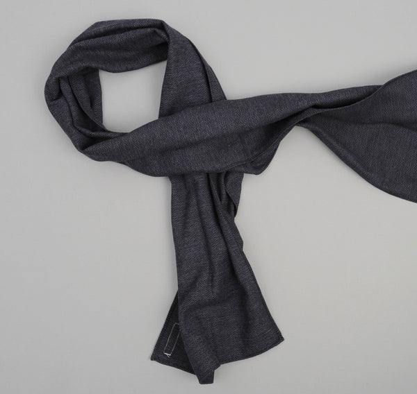 The Hill-Side Brushed Mini Herringbone Small Scarf, Navy / Purple / Black