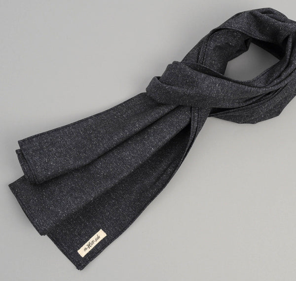 The Hill-Side Cotton Herringbone Tweed Large Scarf, Navy