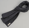 Cotton Herringbone Tweed Large Scarf, Navy
