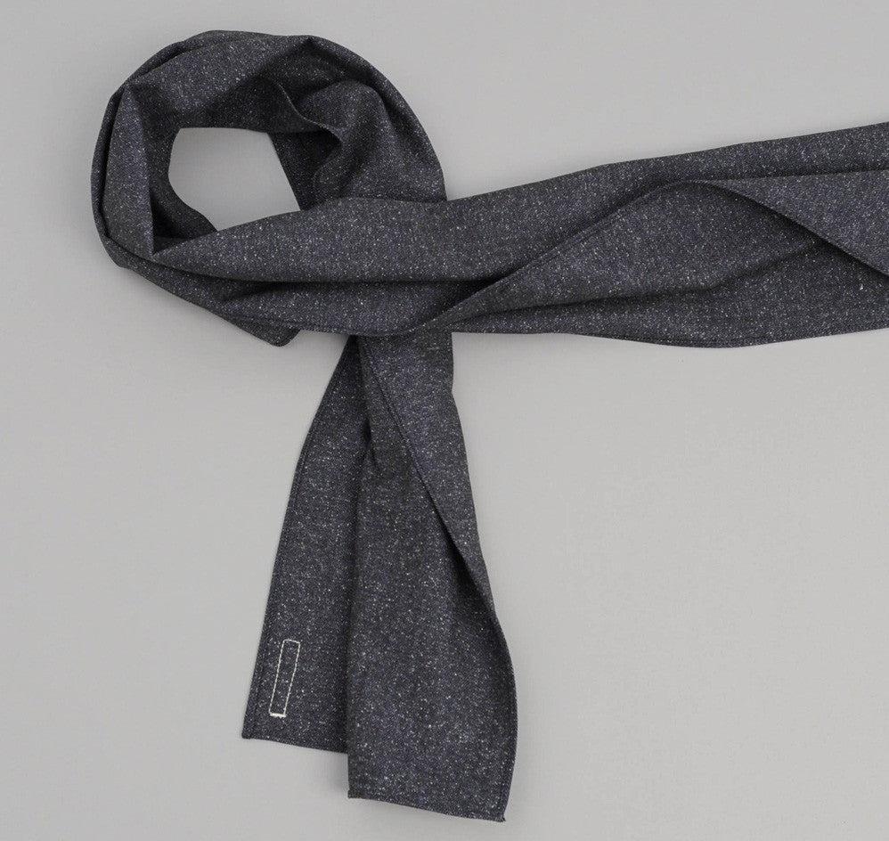 The Hill-Side Cotton Herringbone Tweed Small Scarf, Navy