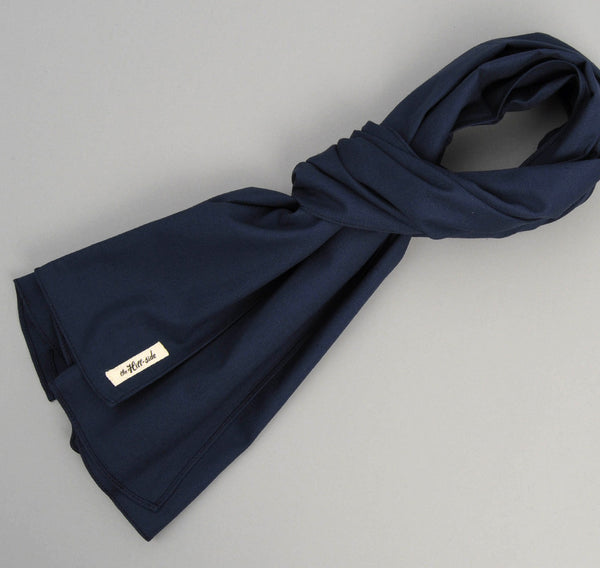 Overdyed Soft Oxford Large Scarf, Navy