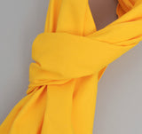 Overdyed Soft Oxford Large Scarf, Yellow
