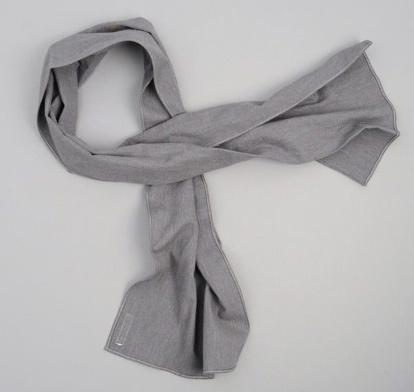 Nep Twill Flannel Small Scarf, Grey