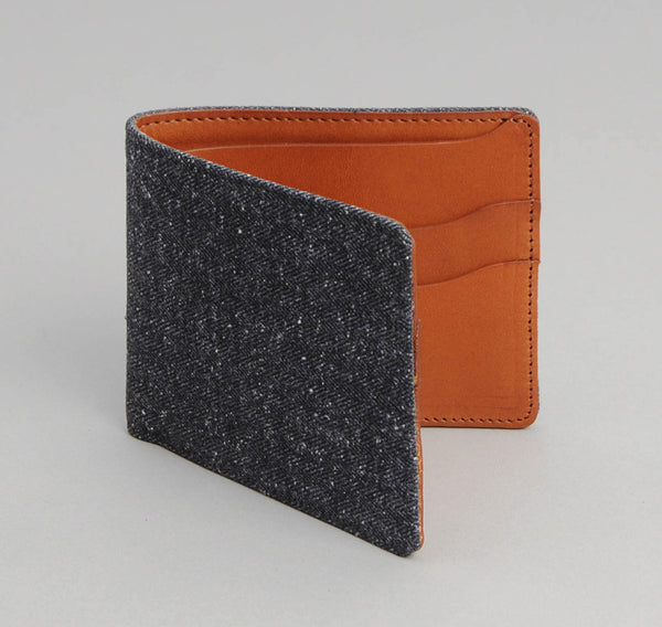 Cotton Herringbone Tweed Wallet,  Navy