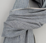 Selvedge Mini-Houndstooth Large Scarf, Indigo