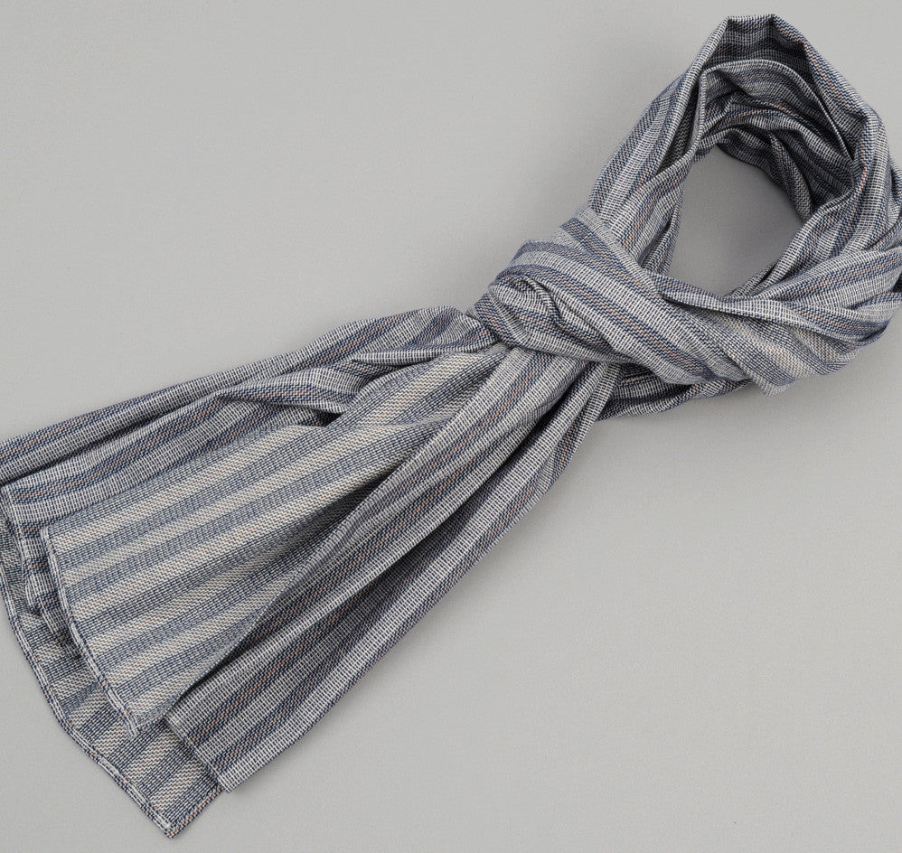 The Hill-Side Basketweave Twill Stripe Large Scarf, Navy