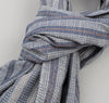 Basketweave Twill Stripe Large Scarf, Navy