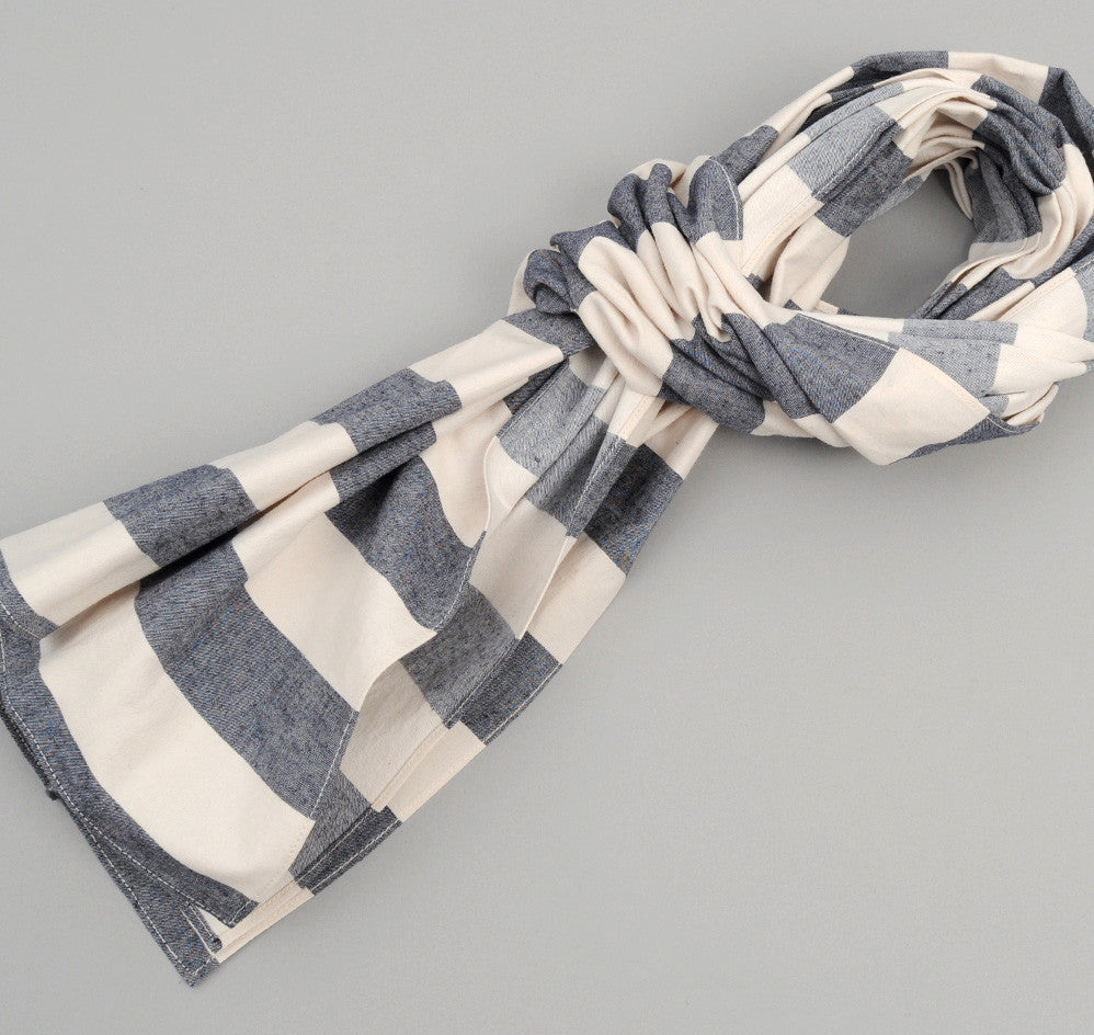 Cotton / Linen Wide Border Stripe Large Scarf, Navy / Natural