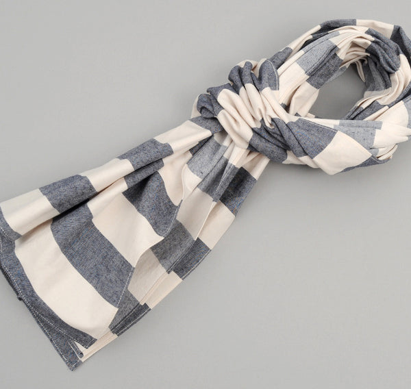 The Hill-Side Cotton / Linen Wide Border Stripe Large Scarf, Navy / Natural