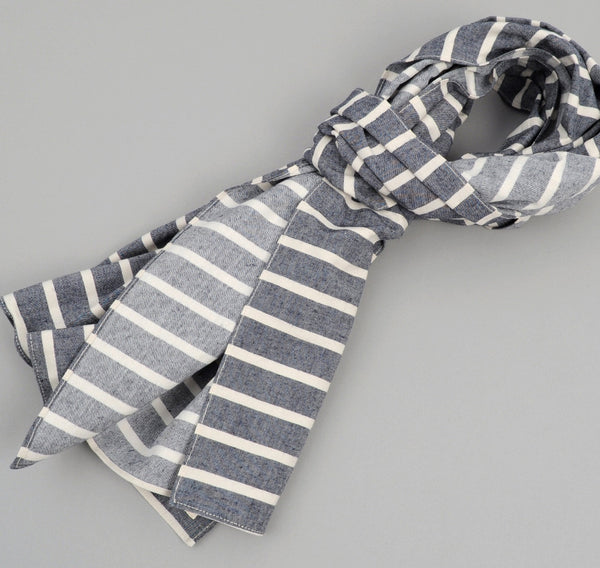 The Hill-Side Cotton / Linen Narrow Border Stripe Large Scarf, Navy / Natural
